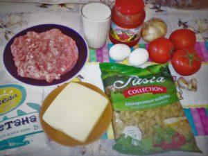 Запеканка из макарон с фаршем в духовке: ингредиенты