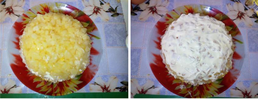 Салат из курицы ананасов и сыра пошаговый рецепт с пошагово