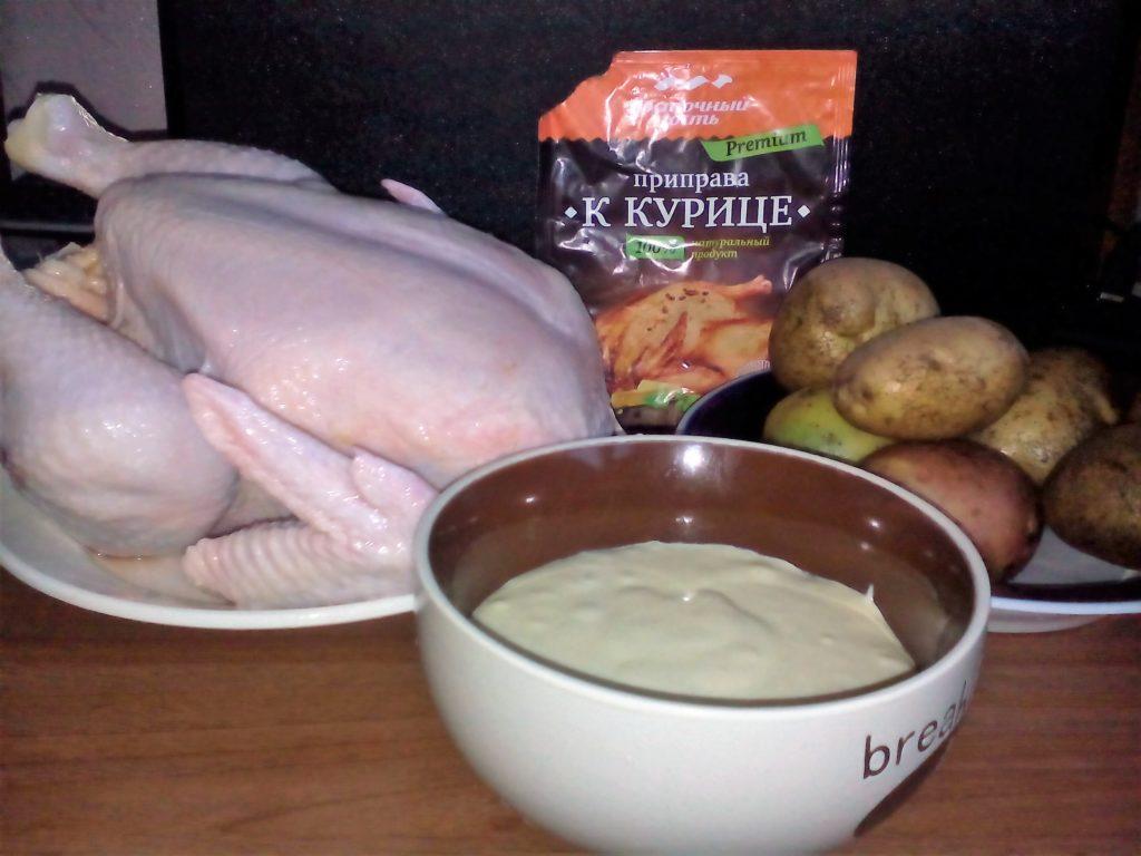 Курица с картошкой в духовке с майонезом и чесноком: рецепт с фото