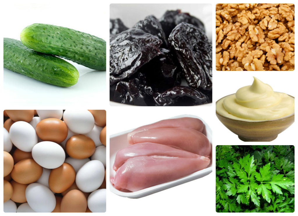 """Салат """"Нежность"""" с курицей, черносливом и грецкими орехами"""