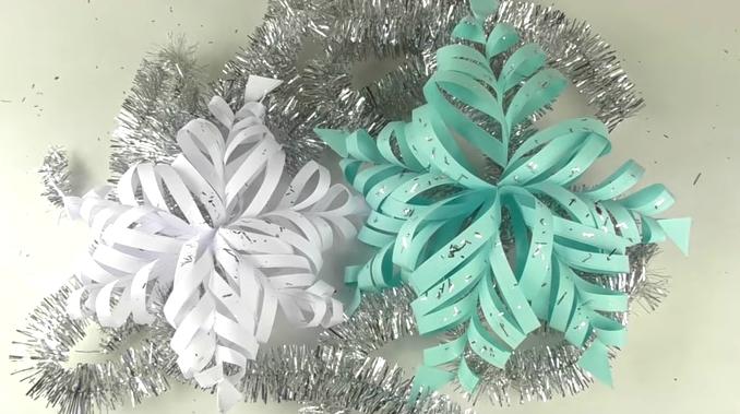 как сделать объемную снежинку из бумаги своими руками