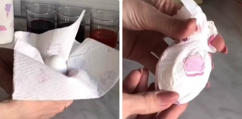 яйца крашеные в салфетке