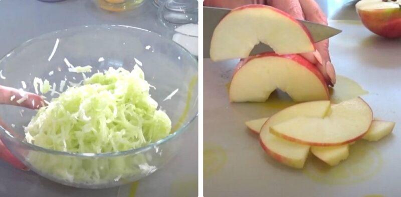 оладьи из кабачков с яблоком